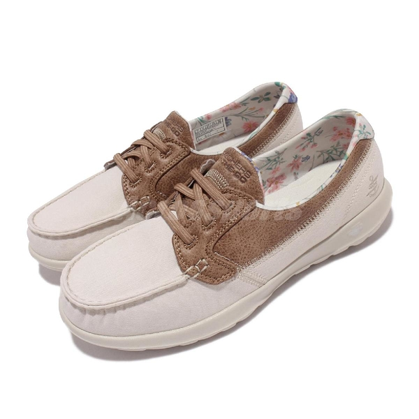 Skechers 休閒鞋 Go Walk Like Blooming Daisies 女鞋 米白 小花 健走鞋 帆船鞋【ACS】 136098-TPE