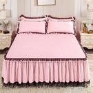 韓版床裙單件蕾絲花邊床罩床單公主防塵罩防滑床笠裙式床套水洗棉 3C優購