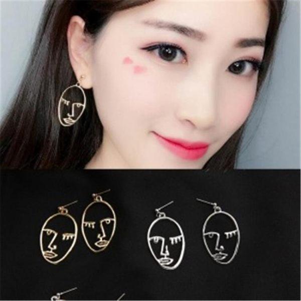 (手工飾品不退換)7805#2018韓版新款個性人臉鏤空耳環面部眼睛橢圓耳釘耳飾()G-B507-B日韓屋