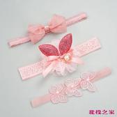 韓國蕾絲嬰兒髮帶 三件組 紅色兔耳朵 | 兒童公主髮飾 | 新生兒頭飾(寶寶/幼兒/小孩/頭飾)
