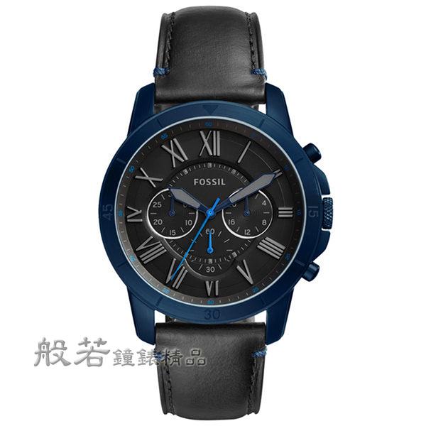 FOSSIL Grant 古典伯爵三環計時腕錶-黑X海軍藍