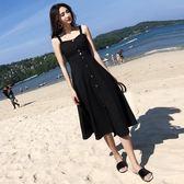 洋裝—夏季新款無袖小心機性感露背吊帶連衣裙女紐扣修身a字中長裙 草莓妞妞