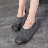 真皮鞋  軟底 透氣 耐磨 淺口鞋 手工鞋 平底鞋/2色-標準碼-夢想家-0717