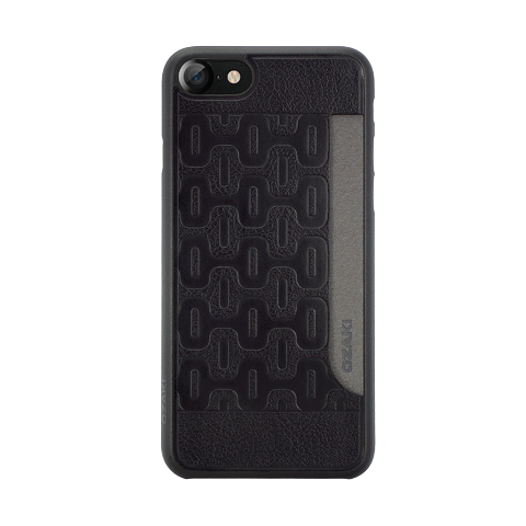 【唐吉】Ozaki O!coat 0.3+ Pocket iPhone 7 黑色圖紋超薄口袋保護殼