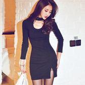 洋裝 掛脖連身裙韓版性感低胸開叉包臀裙