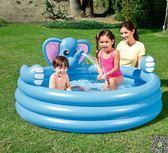 泳池 兒童帶滑梯游泳池充氣嬰兒家用可噴水寶寶戲水池加厚超大號洗澡池T 4色