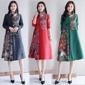 中大尺碼洋裝 復古時尚印花修身顯瘦立領套頭連身裙 4色 M-4XL #yld9179 ❤卡樂❤