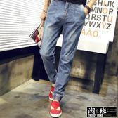『潮段班』【HJ040115】日韓系刷白哈倫束口丹寧牛仔長褲