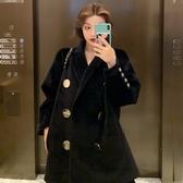 時尚復古英倫風黑色毛呢外套女秋冬韓版新款流行網紅呢子大衣 雅楓居