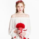 一字領燈籠長袖上衣-情人節穿搭優雅氣質時尚女裝73ll67【巴黎精品】