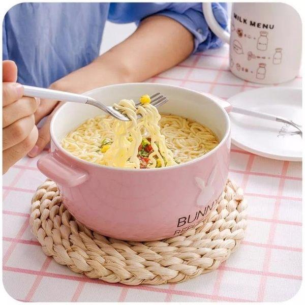 創意卡通泡面碗帶蓋有蓋陶瓷可愛家用個性大號泡方便面日式雙耳碗