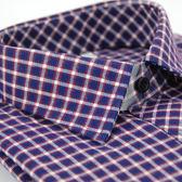 【金‧安德森】紫白格紋厚暖長袖襯衫