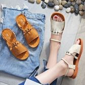【35-43全尺碼】平底涼鞋.復古時尚串珠露趾扣環平底涼鞋.白鳥麗子