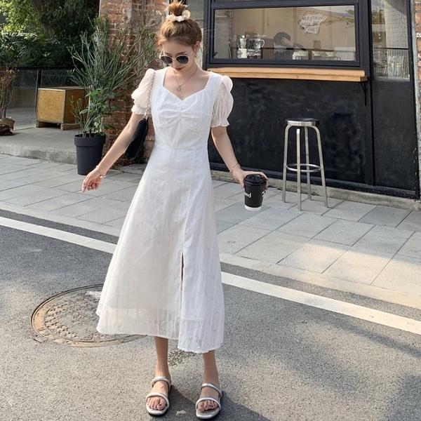 白色初戀裙女2021年夏季新款潮收腰設計感開叉中長款泡泡袖洋裝