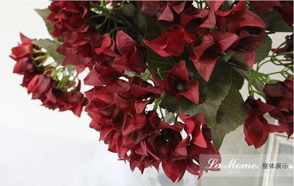 [協貿國際]單枝仿真花/暗紅色復古繡球花/歐式古典裝飾花藝/樣板房