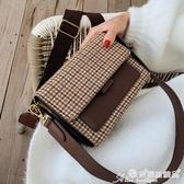 草編包 高級感包包休閒女包新款2020韓版時尚撞色編織百搭側背斜背小方包 愛麗絲
