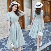 棉麻連衣裙女2021新款夏季收腰氣質小清新很仙的法國小眾桔梗裙子 快速出貨