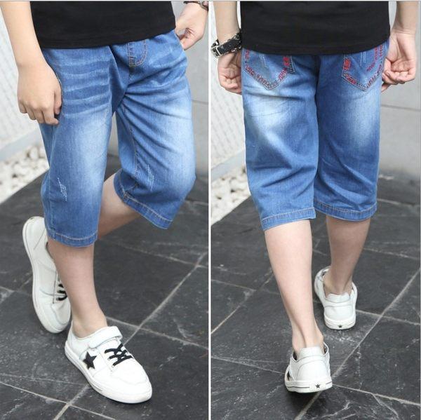 衣童趣♥中大男童 彈力腰圍牛仔七分褲 帥氣後口袋 刷白 百搭款 外出休閒短褲