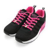 PLAYBOY 簡約生活 針織綁帶氣墊休閒鞋-黑桃
