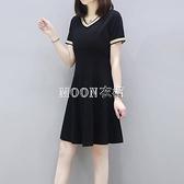 100%純棉裙子v領短袖T恤女裙大碼女士新款夏裝洋氣胖mm洋裝 快速出貨
