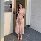 VK精品服飾 韓國風時尚復古V領長版雪紡碎花甜美短袖洋裝
