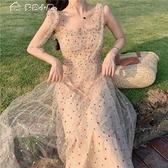 蕾絲洋裝仙女Chic溫柔小個子超仙網紗吊帶裙子收腰顯瘦海邊度假沙灘連身裙 快速出貨