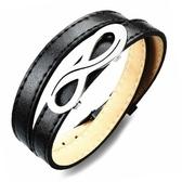 皮革手環 鈦鋼-獨特八字生日聖誕節交換禮物男皮繩2色73cq111【時尚巴黎】