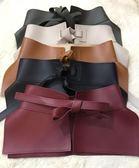 打結超寬腰帶女系帶皮裙時尚裝飾皮褲綁帶腰封連衣裙百搭配飾皮帶