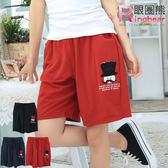 質感短褲--俏皮可愛翹鬍子貼布鬆緊褲頭棉質短褲(黑.紅.藍2L-4L)-R123眼圈熊中大尺碼