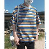 夏季條紋t恤男短袖圓領韓版潮牌衣服打底衫五分寬鬆體恤學生上衣