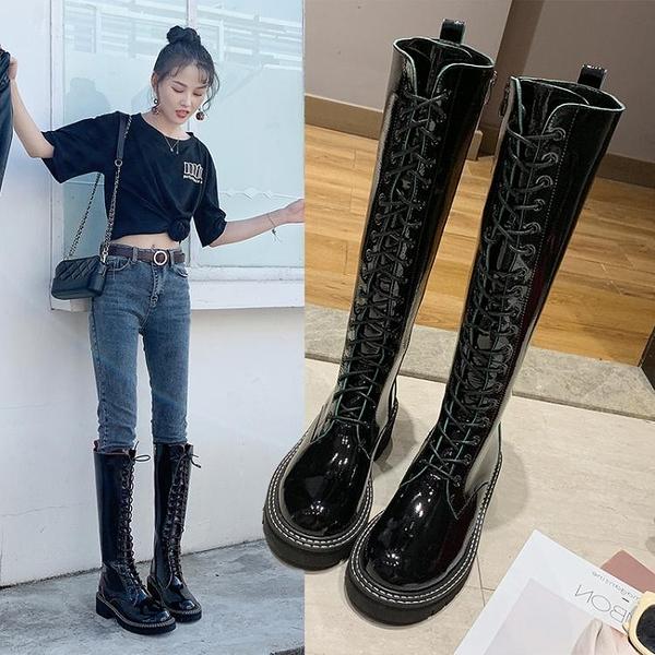 騎士靴女高筒靴馬丁靴女英倫風秋款不膝上靴子粗跟瘦瘦皮靴 交換禮物