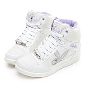 PLAYBOY 搖滾個性 高筒兔兔內增高休閒鞋-白(Y5716白)