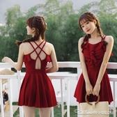 新款泳衣女溫泉冬季連身平角韓國小清新可愛學生保守顯瘦泳裝(速度出貨)