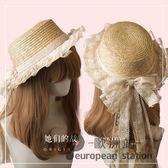 草帽/手作蝴蝶結女 夏季遮陽帽子LOLITA森女系「歐洲站」