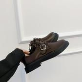 復古百搭英倫風小皮鞋女2020秋季新款圓頭皮帶扣粗跟系帶樂福鞋潮