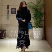 韓版秋冬加厚寬松分體裝 高領毛衣 長款半身裙 針織兩件套裝裙