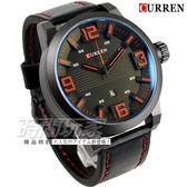 CURREN 大數字時刻 時尚潮流皮革腕錶 男錶 大錶盤 飛行錶 學生錶 數字錶 CU8241 紅x黑 CU8241R