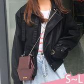 外套-S-L率性百搭翻領拉鍊長繫帶釦環雙邊口袋純色皮衣外套Kiwi Shop奇異果0920【SZZ9791】