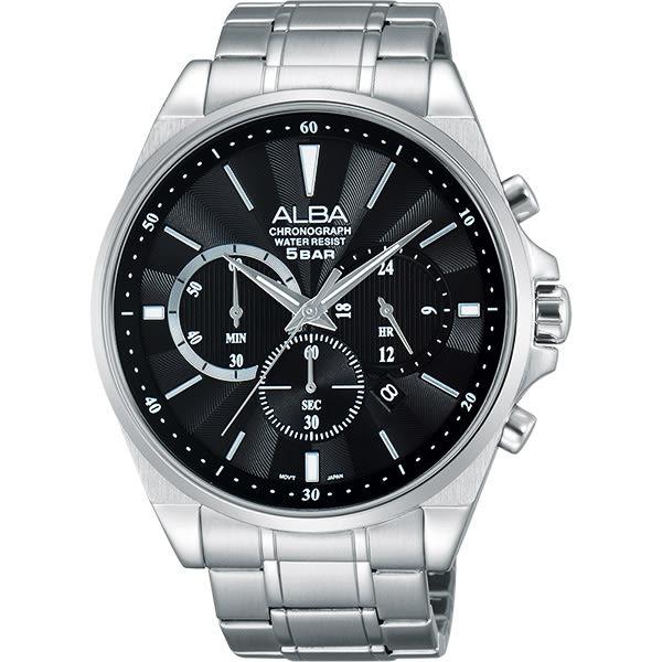 ALBA 雅柏 Prestige 街頭酷玩家計時手錶-黑/44mm VD53-X255D(AT3A67X1)