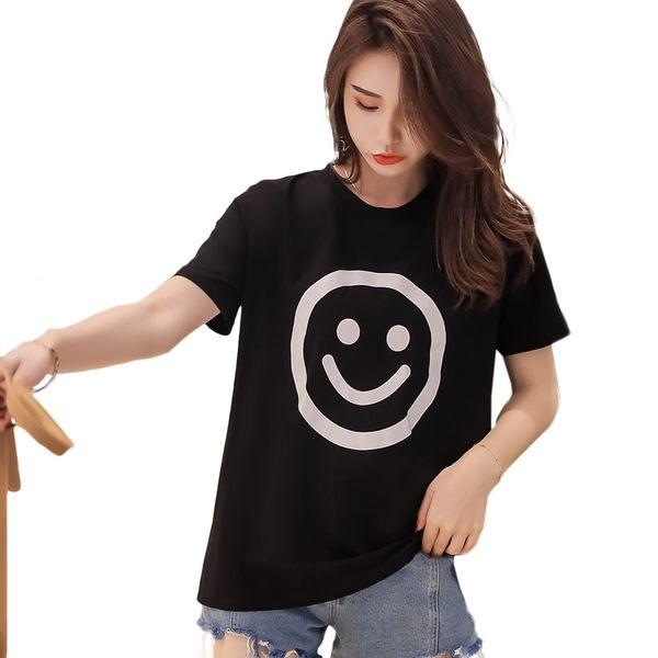 圓領T--舒適自在經典笑臉印圖寬鬆休閒素色棉質T恤(黑.黃XL-4L)-T392眼圈熊中大尺碼◎