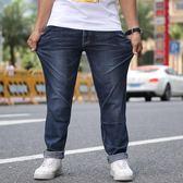 男牛仔褲直筒時尚大碼男裝彈力長褲肥佬直筒褲子《印象精品》t695
