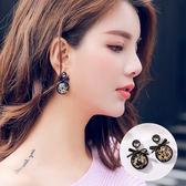 復古水晶蝴蝶結耳環 耳針 H6416