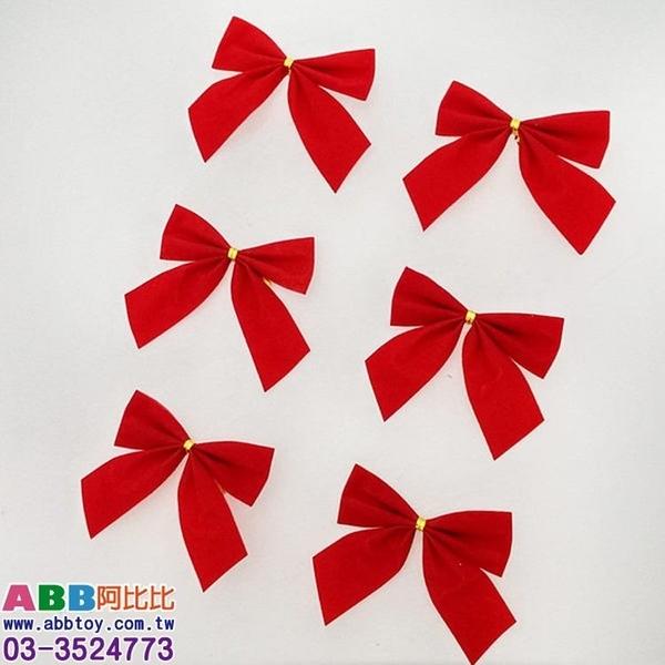 Z0341★8.5cm植絨紅色蝴蝶結_6入#聖誕派對佈置氣球窗貼壁貼彩條拉旗掛飾吊飾