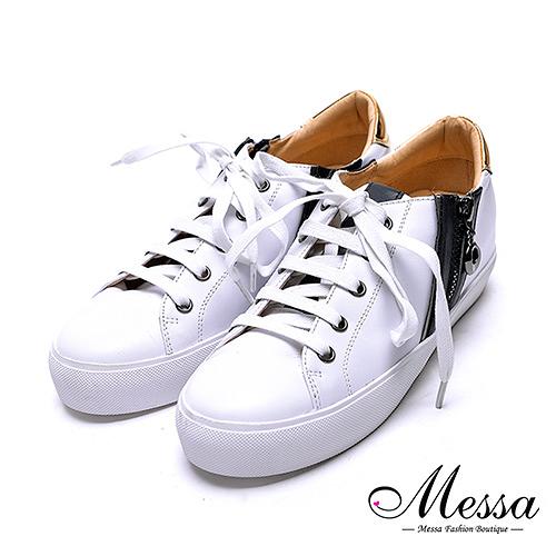【Messa米莎專櫃女鞋】小羊皮金屬材質拼接運動休閒鞋-白色