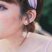 韓製。珍珠立體花朵長耳環【AD080112R1】THEGIRLWHO那女孩