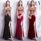 2018新款長裙時尚優雅端莊大氣長款修身魚尾主持人宴會晚禮服裙女