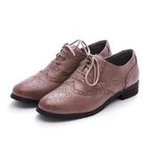 MICHELLE PARK 復古收藏 綿羊皮質感雕花圖案牛津鞋-可可色