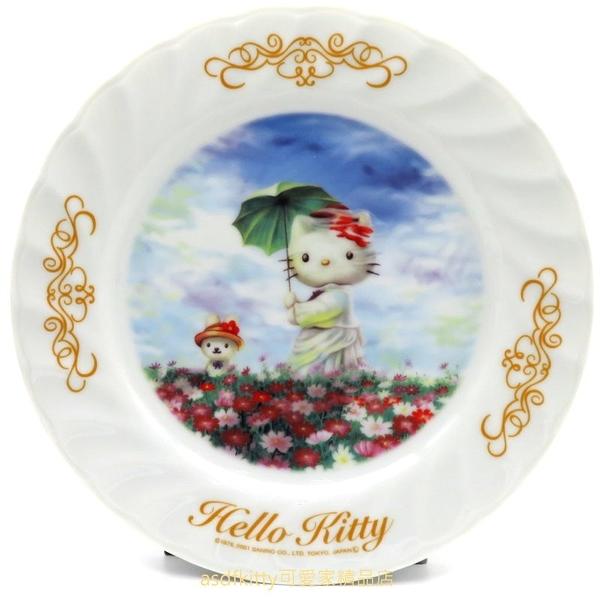 asdfkitty*KITTY收藏級古典陶瓷繪盤-春遊-2001年絕版商品-外盒泛黃-日本正版