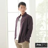 【JEEP】男裝經典小格紋長袖襯衫(紅色)