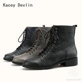 全真皮時尚舒適系帶裝飾英倫風格馬丁靴 中跟女靴子【Kacey Devlin 】